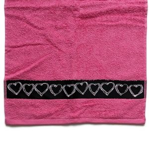 Betsey Johnson Pink Lulus Hearts Hand Towel